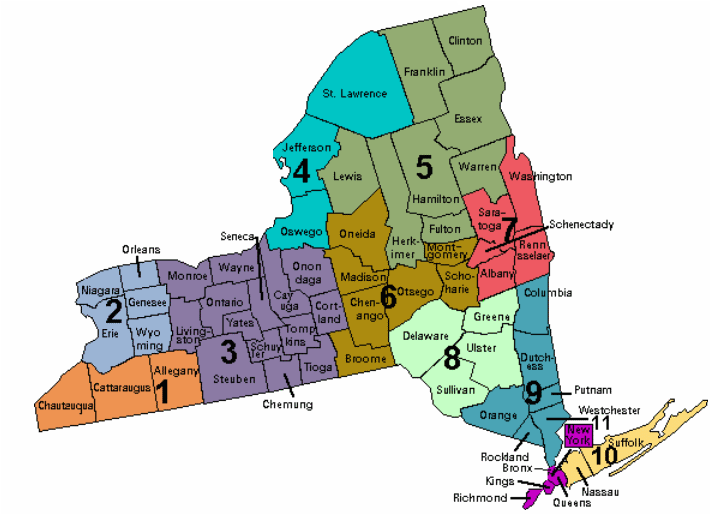 nys county map - regional colors